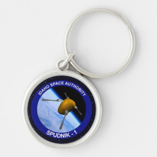 Idaho Spudnik Satellite Mission Patch Silver-Colored Round Key Ring