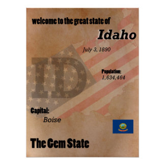 Idaho The Gem State Classic Poster