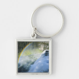 Idaho. USA. Rainbow in spray above Upper Mesa Silver-Colored Square Key Ring