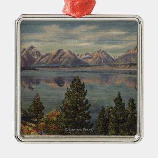 Idaho - View of the Teton Range & Jackson Lake Christmas Ornament