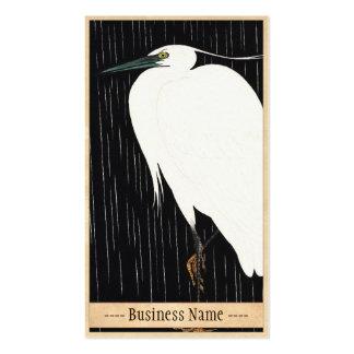 Ide Gakusui White Heron in Rain ukiyo-e japanese Business Card Templates