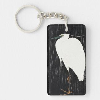 Ide Gakusui White Heron in Rain ukiyo-e japanese Double-Sided Rectangular Acrylic Keychain