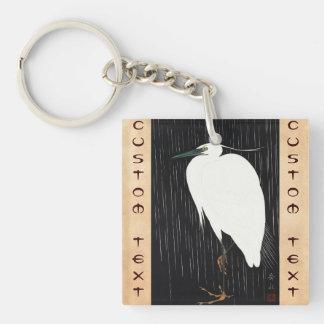 Ide Gakusui White Heron in Rain ukiyo-e japanese Double-Sided Square Acrylic Keychain