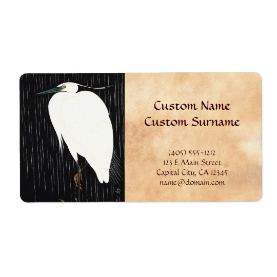 Ide Gakusui White Heron in Rain ukiyo-e japanese Shipping Label