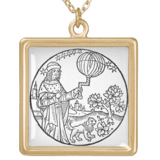 Ideal Portrait of Aristotle (384-322 BC), copy of Gold Plated Necklace
