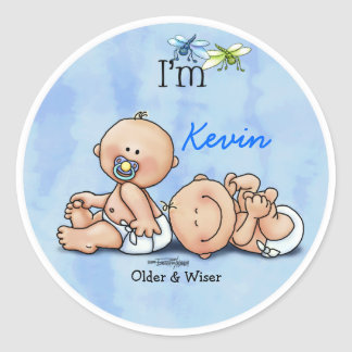 Identical Twin Boys Round Sticker