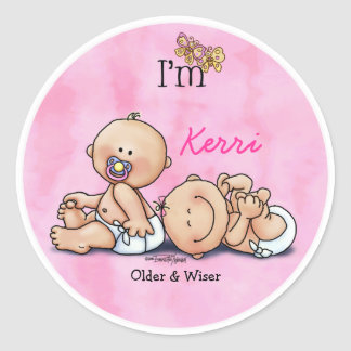 Identical Twin Girls Round Sticker