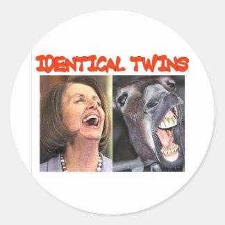 IDENTICAL TWINS ROUND STICKER