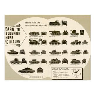 Identification Chart WWII Medium Tanks Postcard