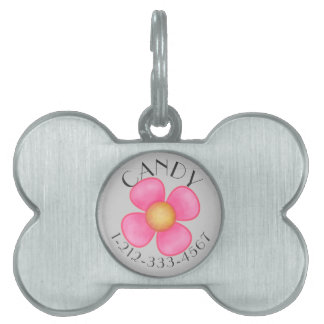 IDENTIFICATION TAG FOR FEMALE DOG.  PINK FLORAL PET TAGS