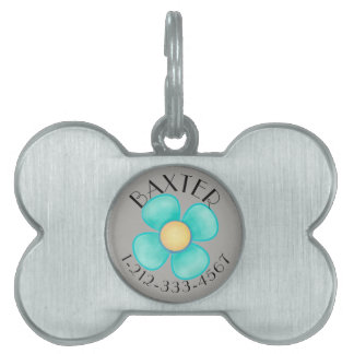 IDENTIFICATION TAG FOR MALE DOG.  BLUE FLORAL