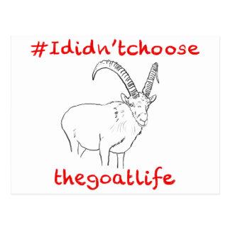 '#Ididn'tchoosethegoatlife' funny goat postcard