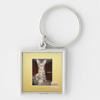 Idiot Friends Silver-Colored Square Key Ring