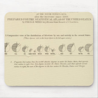 Idiots, Statistical US Lithograph 1870 Mouse Mat