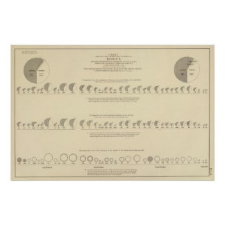 Idiots, Statistical US Lithograph 1870 Poster