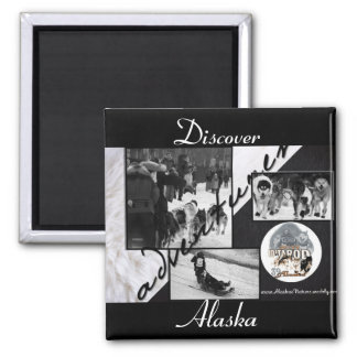 Iditarod Black & White Square Magnet