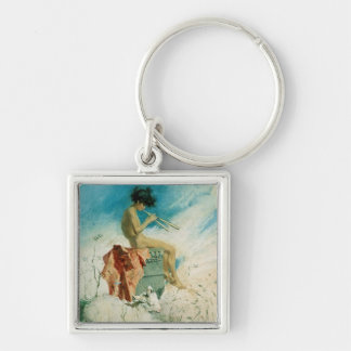 Idyll, 1868 (w/c on paper) Silver-Colored square key ring