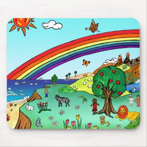 Idyllic Children's Landscape -- Paradise Binder Mouse Pads