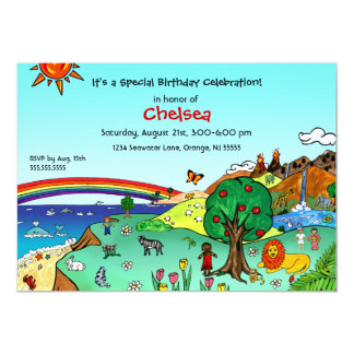 "Idyllic Children's Landscape -- Paradise 5"" X 7"" Invitation Card"