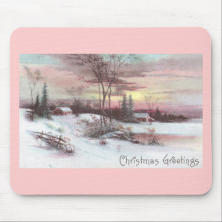 Idyllic Country Winter Scene with Pink Sunset Mouse Pad