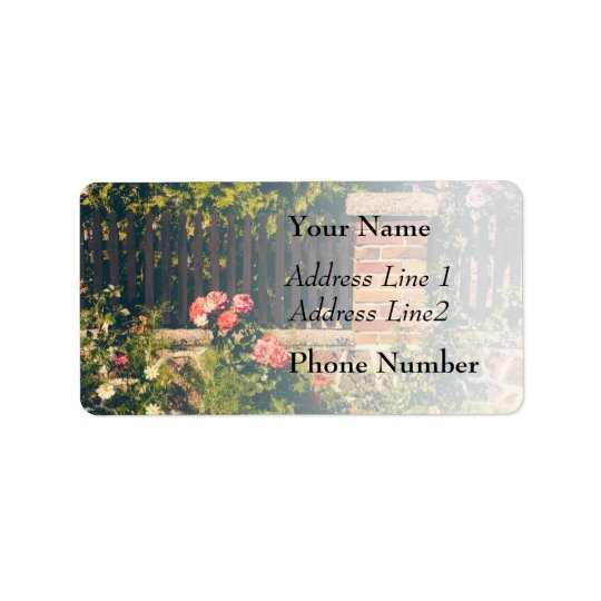 Idyllic Garden With Roses, Wooden Fence Address Label