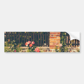 Idyllic Garden With Roses Wooden Fence Bumper Sticker