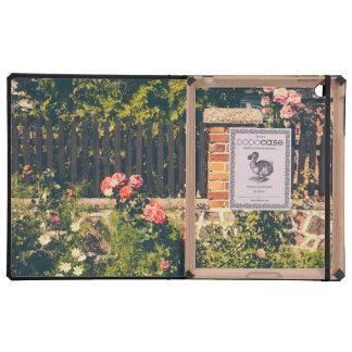 Idyllic Garden With Roses Wooden Fence iPad Folio Cases
