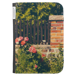 Idyllic Garden With Roses Wooden Fence Kindle Folio Cases