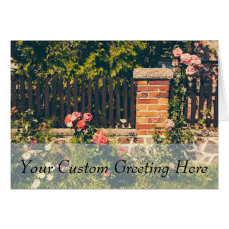Idyllic Garden With Roses, Wooden Fence Greeting Card