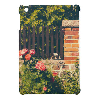 Idyllic Garden With Roses Wooden Fence iPad Mini Case