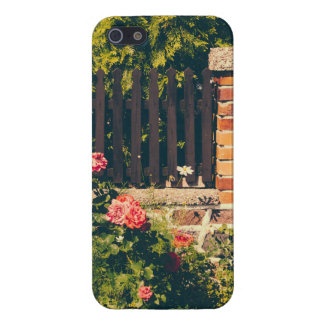 Idyllic Garden With Roses Wooden Fence Cover For iPhone 5