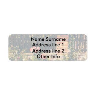 Idyllic Garden With Roses, Wooden Fence Return Address Label