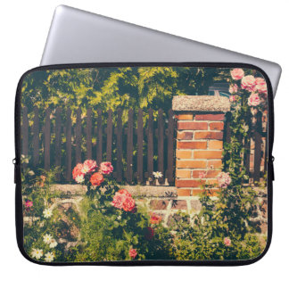 Idyllic Garden With Roses Wooden Fence Computer Sleeve