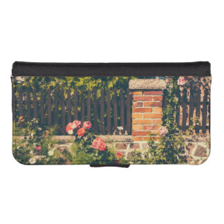 Idyllic Garden With Roses Wooden Fence Phone Wallet