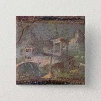 Idyllic Landscape, from Herculaneum, 15 Cm Square Badge