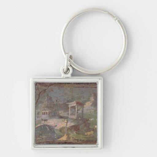 Idyllic Landscape, from Herculaneum, Keychain