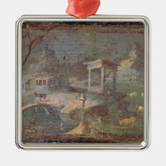 Idyllic Landscape, from Herculaneum, Silver-Colored Square Decoration