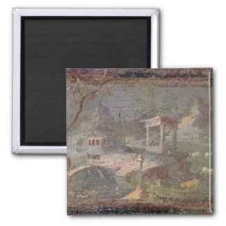 Idyllic Landscape, from Herculaneum, Square Magnet