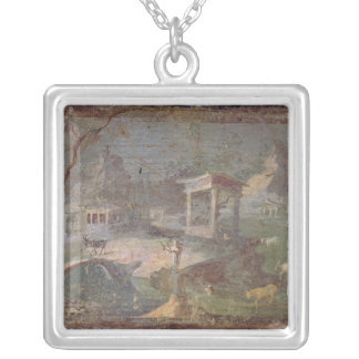 Idyllic Landscape, from Herculaneum, Square Pendant Necklace