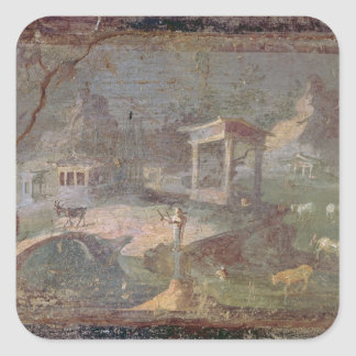 Idyllic Landscape, from Herculaneum, Square Sticker