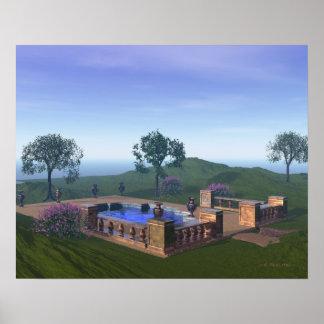Idyllic Pool in Beautiful Scene at Spa Poster