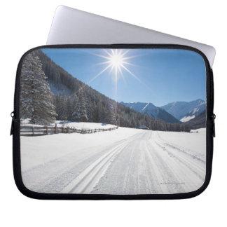 idyllic winter landscapes in the berwanger tal, computer sleeve