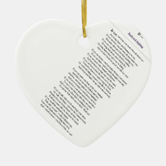 If, by Rudyard Kipling - tilted text Ceramic Heart Decoration