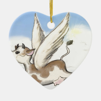 If Cows could fly... Ceramic Heart Decoration