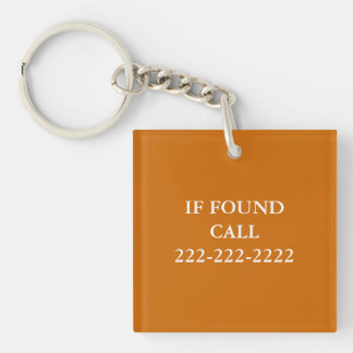 IF FOUND Phone Number Monogram Lost and Found Key Ring