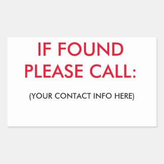 IF FOUND PLEASE CALL LABELS RECTANGULAR STICKER