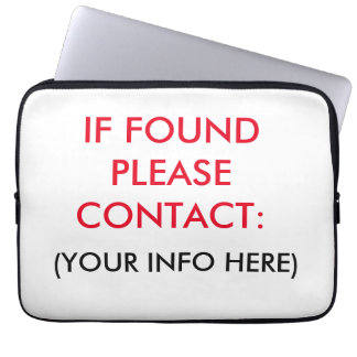 IF FOUND PLEASE CALL LAPTOP SLEEVE
