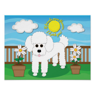 "If friends were flowers Poodle Dog Art 16"" x 12"" Poster"
