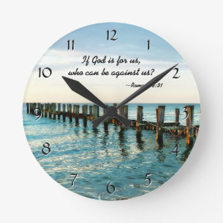 If God is for us who can be against us Romans 8:31 Round Clock