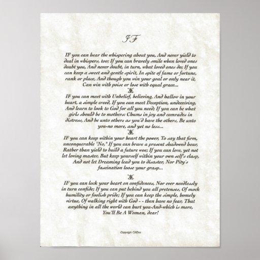 IF Inspiring Poem for Young Men by Rudyard Kipling Print